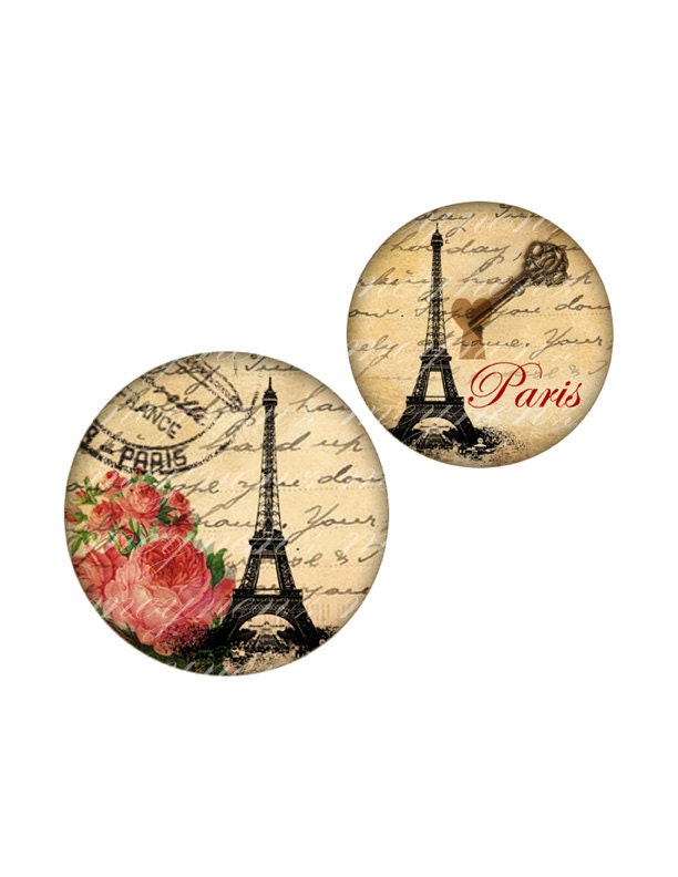 INSTANT DOWNLOAD-Love in Paris - Printable 18 mm round for earrings, cufflinks, ring, magnet, pendant - Jpg File no. A347 - meynenz