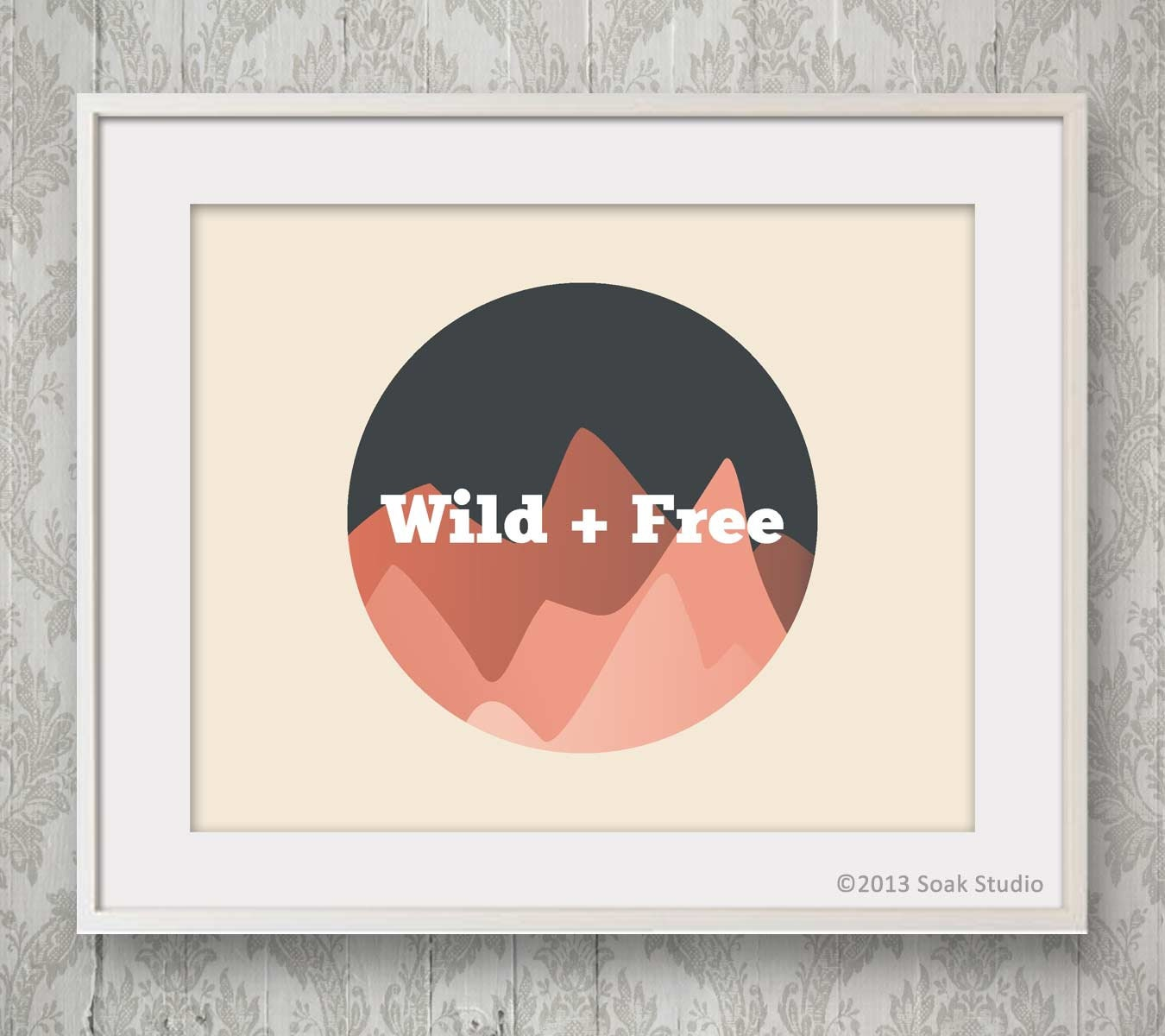 Wild and Free Mountain Print, Geometric Coral Ombre Mountain, Adventure Print, Childrens Illustration, Modern Nursery Art Print, Travel Gift - SoakStudio