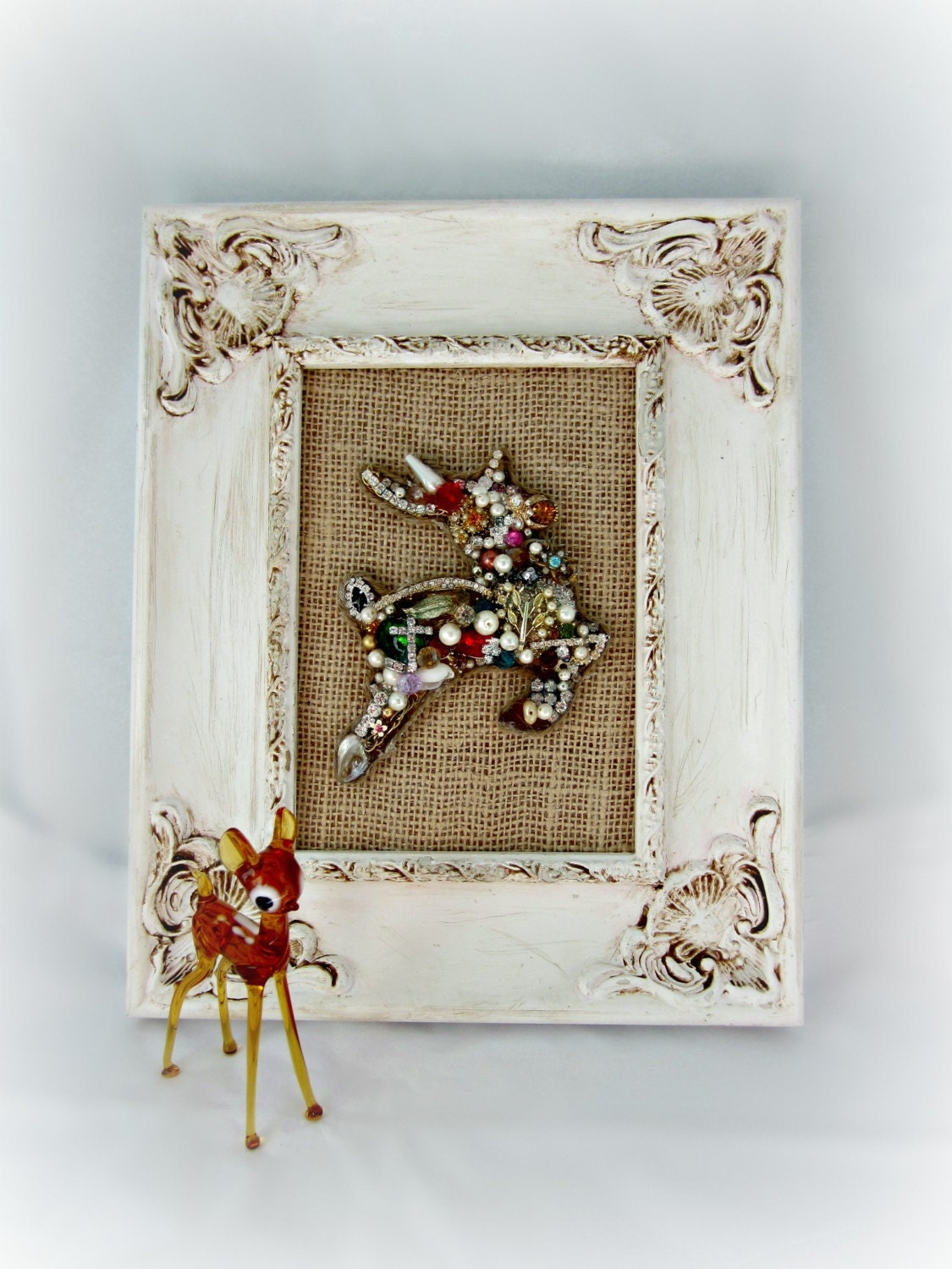 Bejeweled Christmas Reindeer Wall Art, Jewelry Mosaic Wall Decor, Shabby Holiday Decor - northandsouthshabby