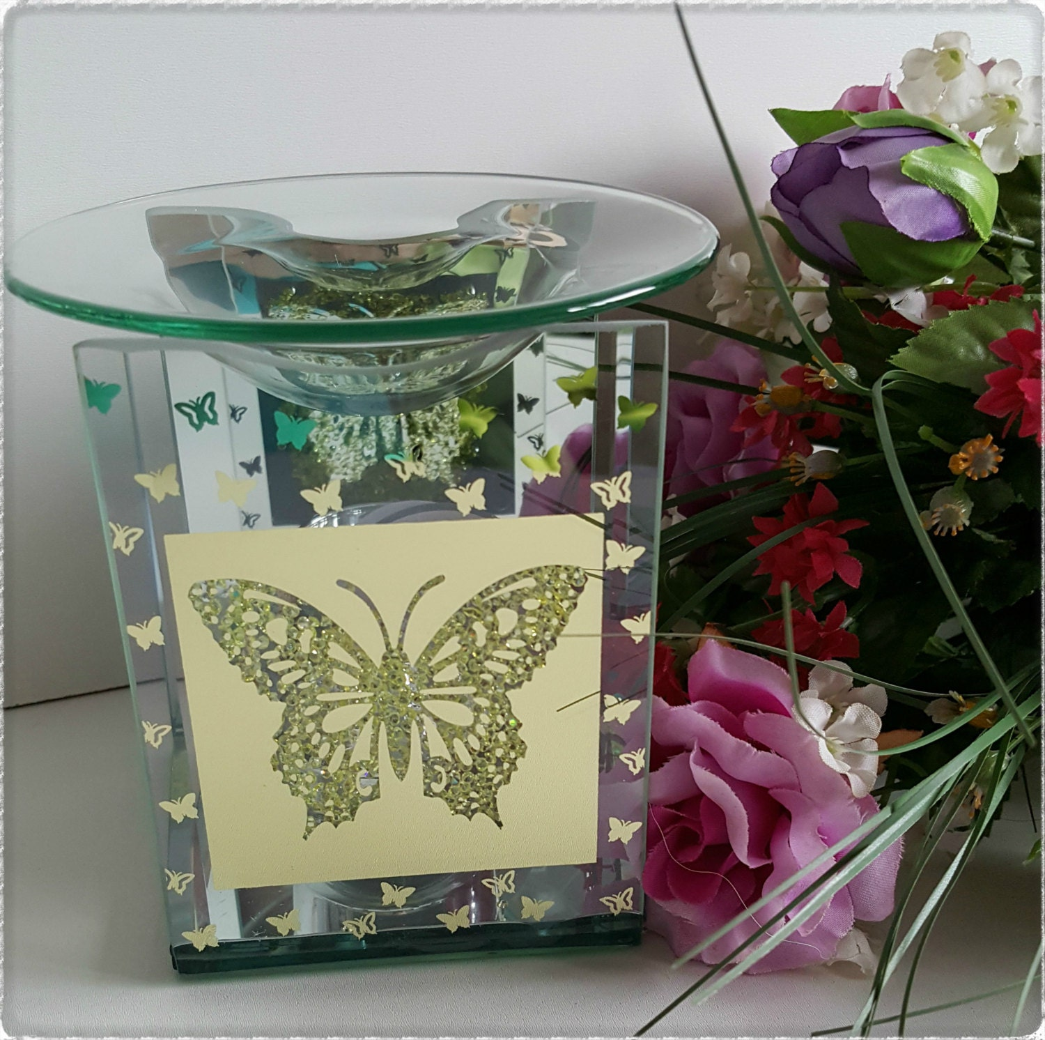 Butterfly Mirrored Oil Burner  Lovely Gift for Christmas Birthday Wedding Mothers Day