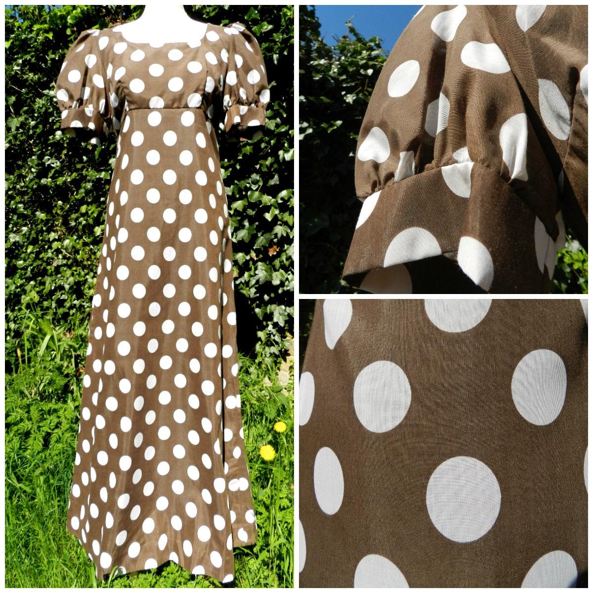 60s MARION DONALDSON maxi dress regency EMPIRE waist puff sleeves dotty polka dot brown white print u.k. 12  14 M