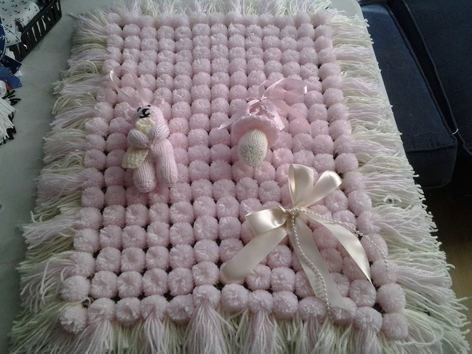 Pram blanket crib blanket pom pom blanket new baby baby gift baby shower handmade to order colour of your choice dummy pram charm