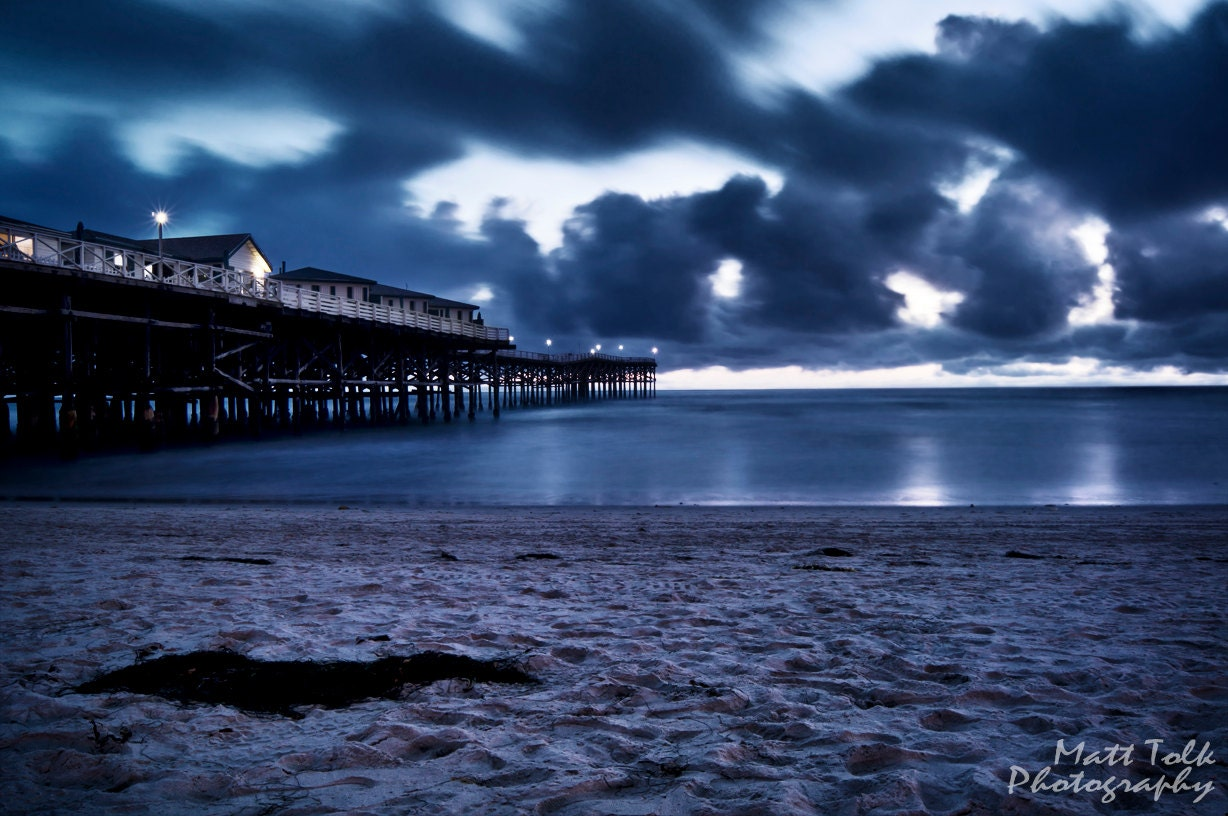 California Photography - Crystal Pier, Pacific Beach, San Diego, Blue, Night, Dusk, Clouds, Ocean, Beach, Sand, Sky, Long Exposure - MattTolkPhotography