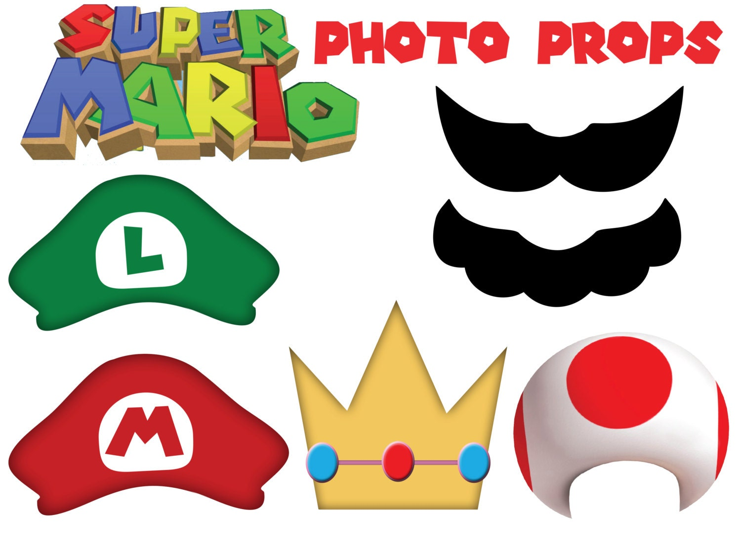 Super Mario inspired Photo Props Mario Luigi by Cre8tesbyRacheal