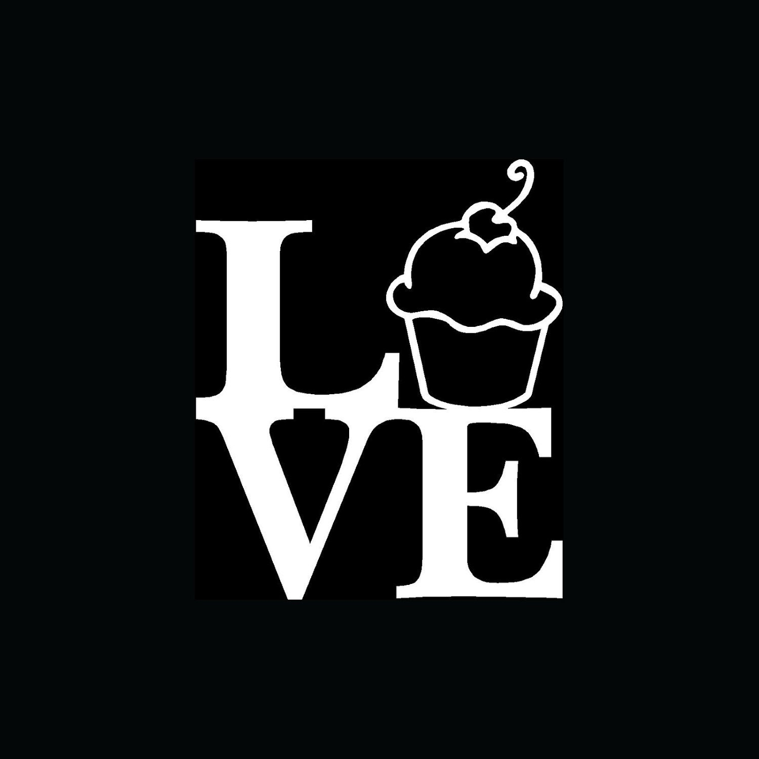 REDUCED Love Cupcake sticker Food Cute by yourprincessfairy