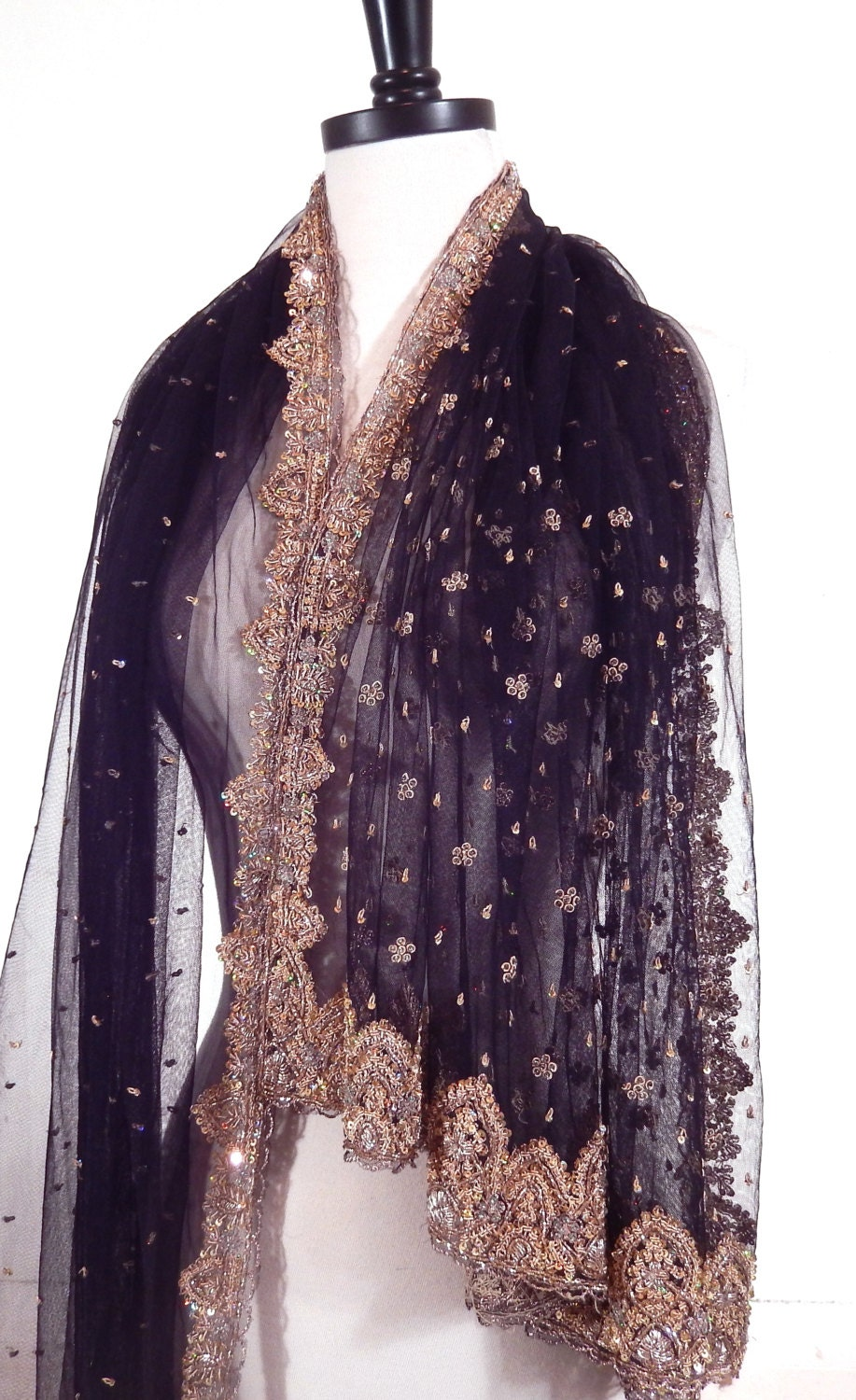 beaded shawl black scarf embroidered shawl indian by