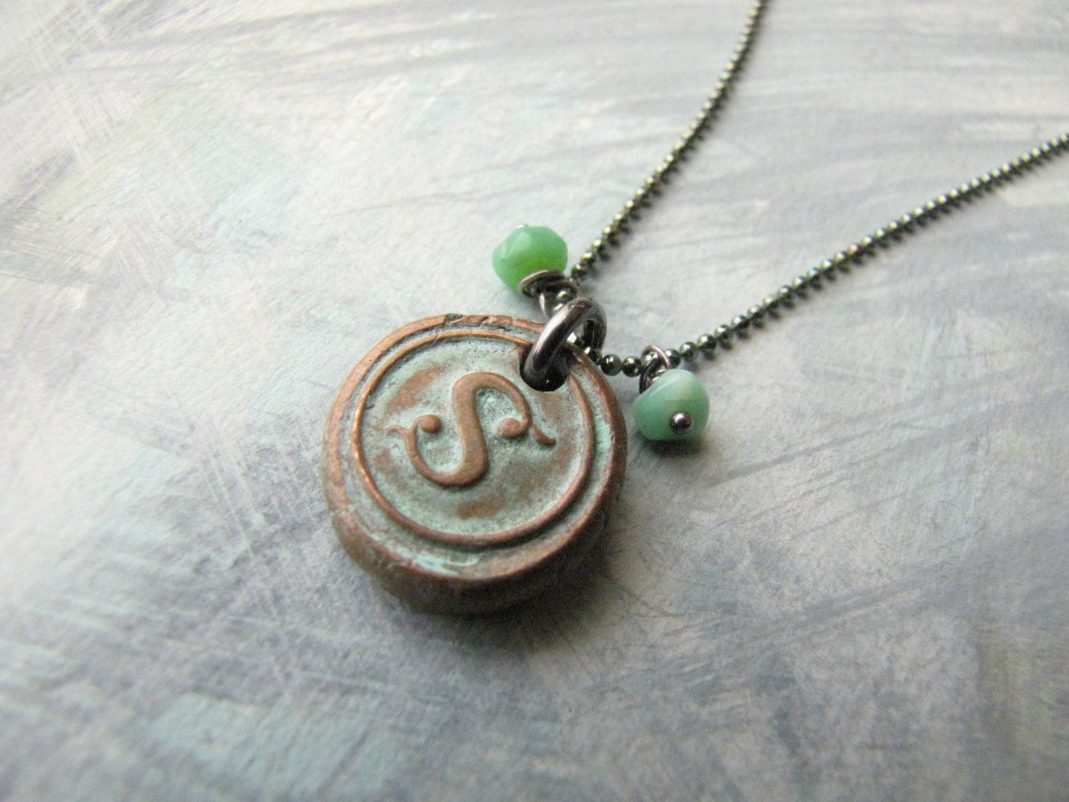 Copper Wax Seal  Initial Stamp with Aqua Patina and Turquoise -:-   Letter S - MossyCreekStudio