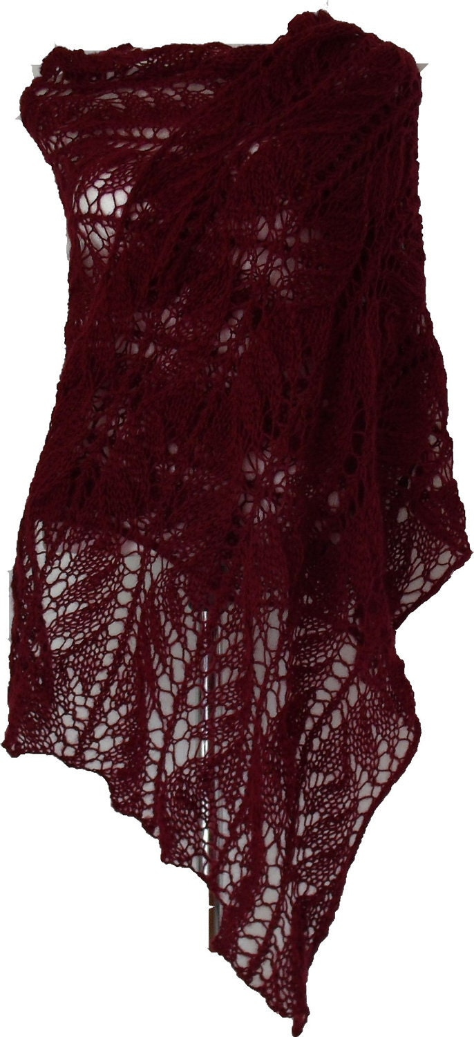 Burgundy Beauty ellegant  exclusive lacy angora stole scarf 4 seasons OOAK - MyLaceSpace