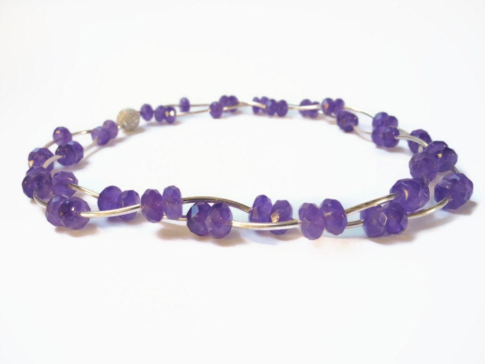 Beadwork Necklace, Beaded Jewelry,  purple amethyst silver gemstone Semi Precious Choker finished with magnetic clasp - FlorenceJewelshop
