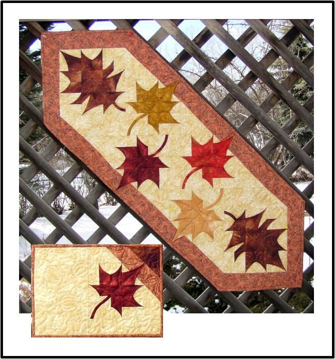 Quilt Patterns For Table Runners And Placemats : Falling Leaves Table Runner & Placemats PDF by jbquiltdesigns