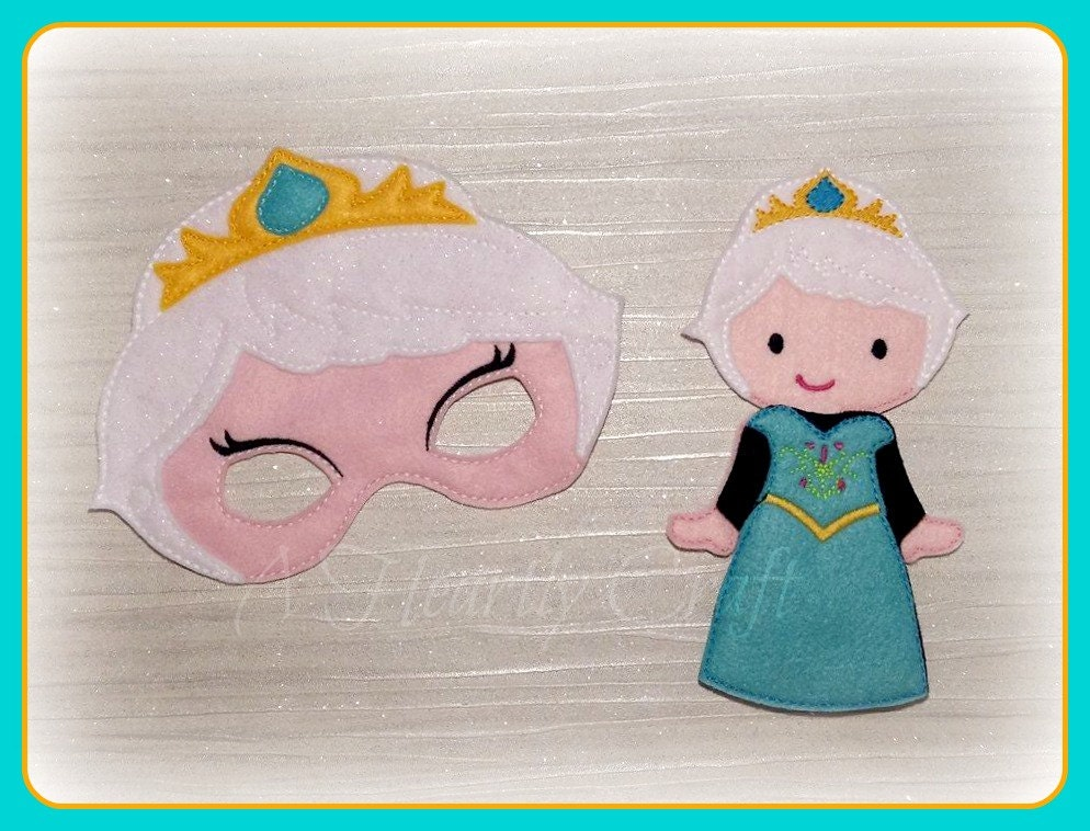 Frozen Princess Mask and Felt Non Paper Doll Set  Pretend Fancy Dress Up Play  Elsa  Party Celebration Halloween Favor Gift