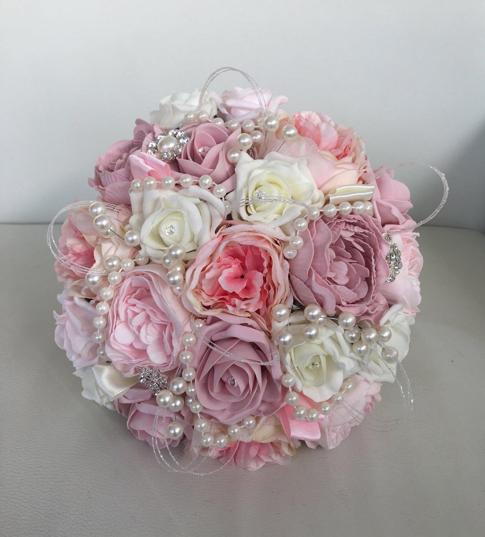 Bride bouquet wedding artificial pink ivory vintage pink pearls ribbon glitter loops shabby chic roses peonies silk foam flowers brooch