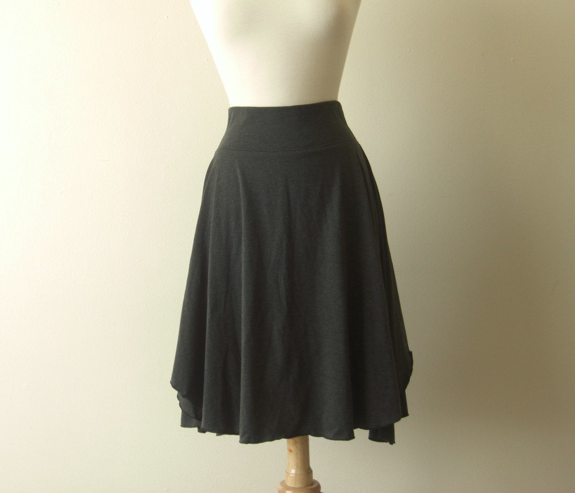 womens cotton jersey flutter skirt knee length by