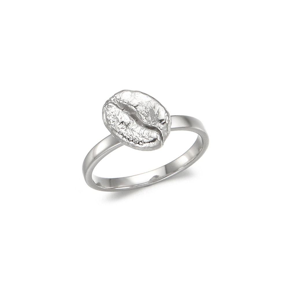 KenyaAA Rings in Sterling Silver , Coffee Bean from Africa, Coffee rings, Coffee jewelry - GlamSlamMaker