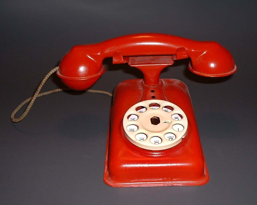 Vintage Toy Red Metal Telphone