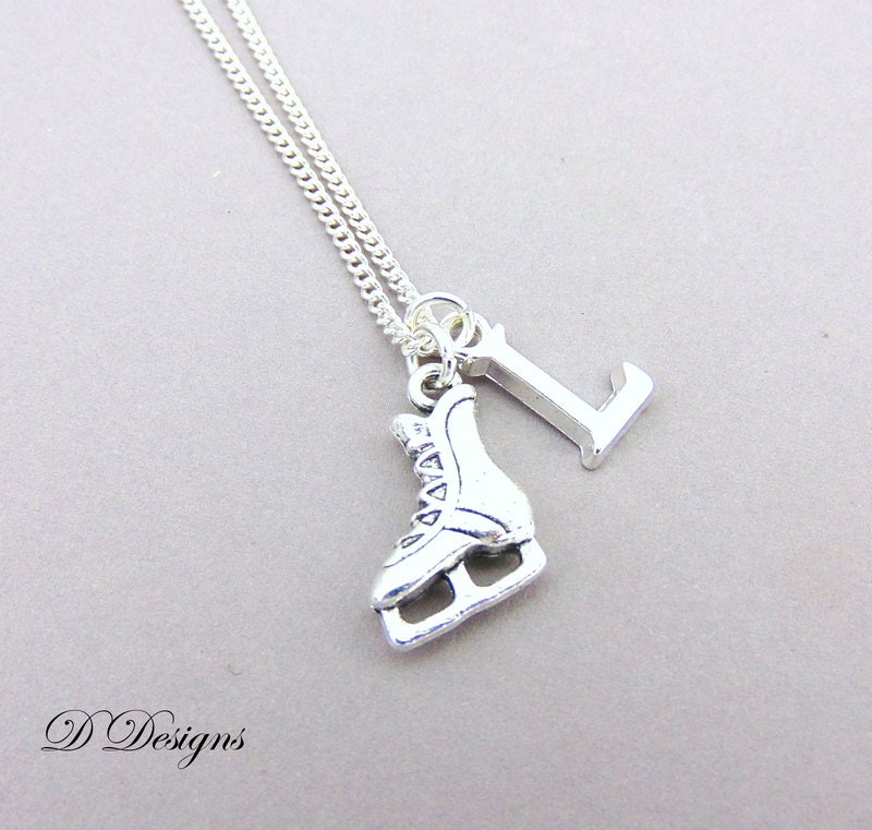 Skating Necklace Personalised Ice Skating Jewellery Sporty Necklace Personalised Letter Necklace Sterling Silver Ice Skating Gifts