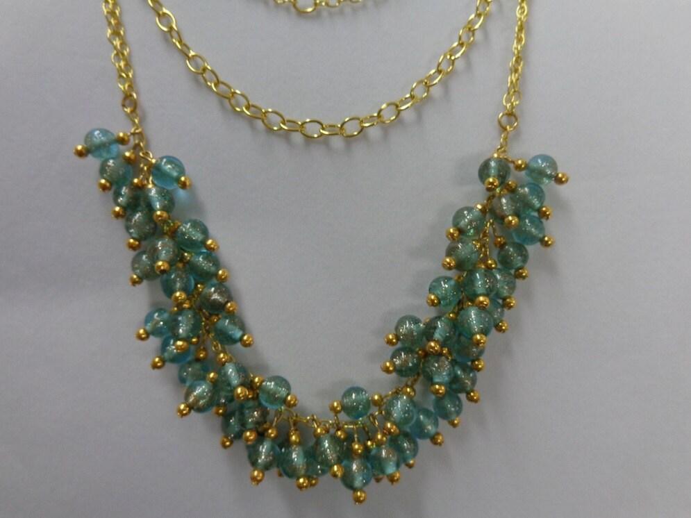 Statement Beadwork Necklace, Multi Chain Necklace, Mint Necklace, Statement Gold Chain Necklace, Glass Mint Necklace, Triple Strand Necklace - CreationsMIC