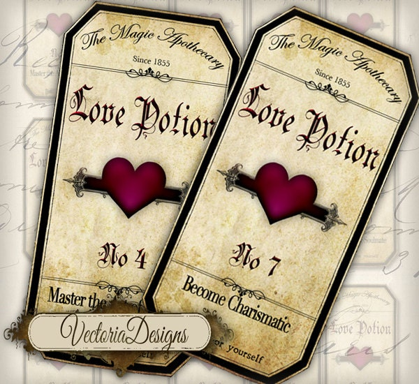 Love Potion Drink Labels: Magic Love Potion Labels VD0209 By VectoriaDesigns On Etsy