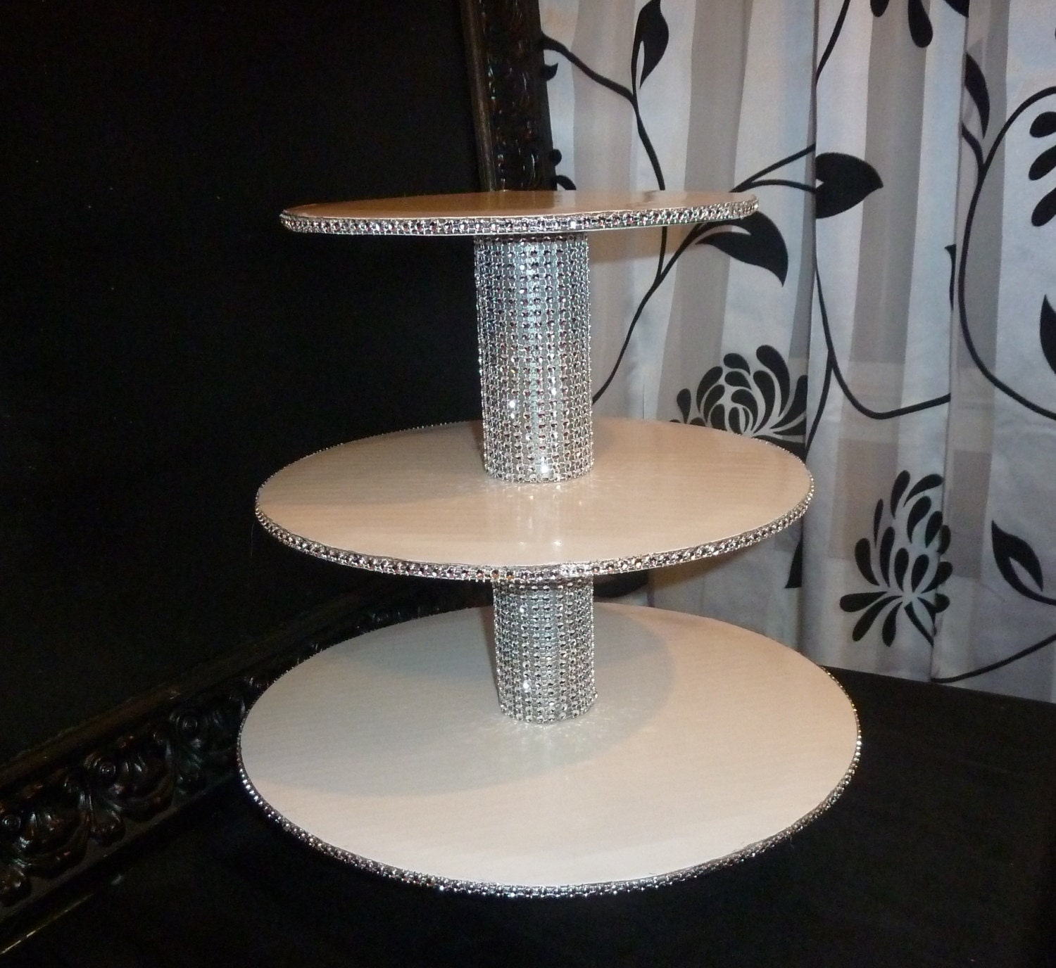 3 Tier Bling Faux Rhinestone Cupcake Stand By