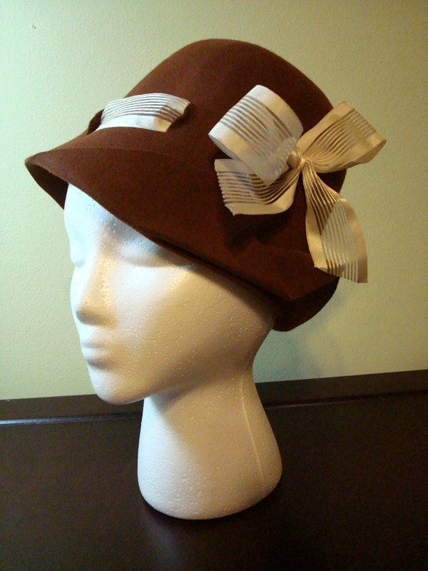 SALE Chocolate Brown Wool Peek-a-Boo Ribbon Cloche Style Hat (One-of-a-Kind)