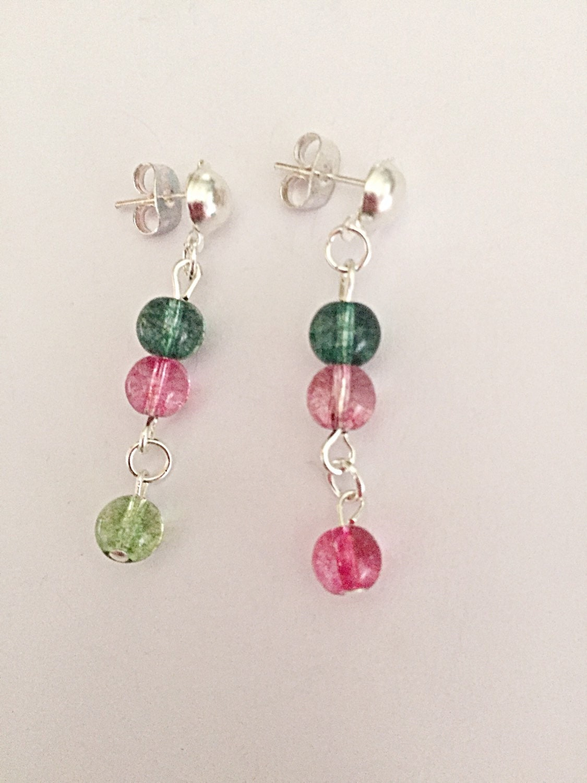 Tourmaline Earrings  Gemstone Earrings  Colourful Earrings  Dangly Earrings  Spiritual Jewelry