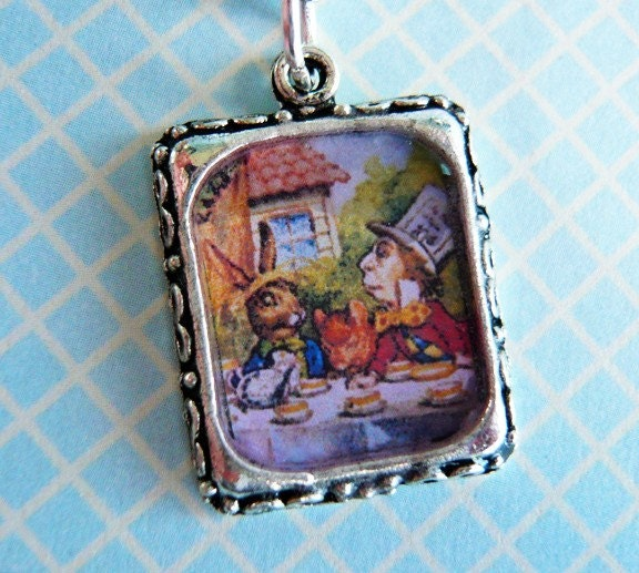 Alice in Wonderland Mad Hatter and Rabbit Necklace by MaruMaru from etsy.com