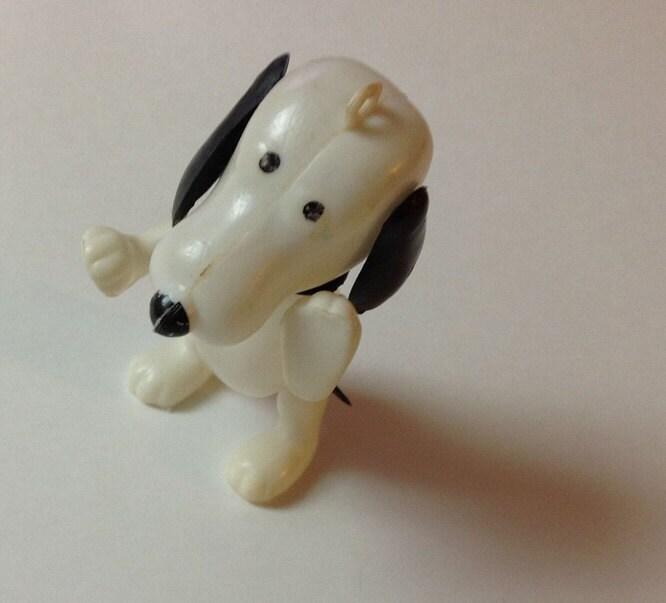 Vintage Plastic Snoopy Dog Christmas Ornament 1970s