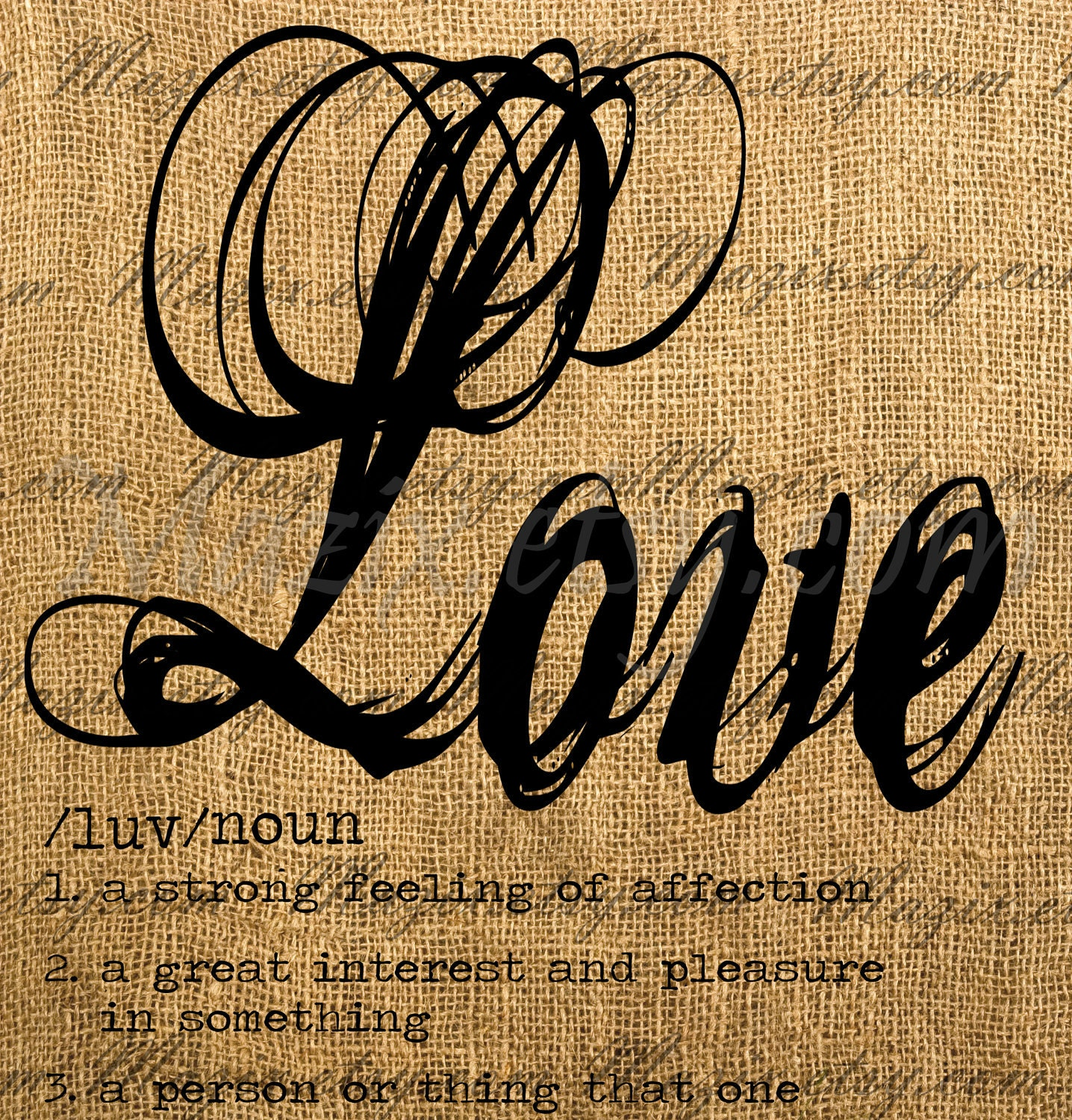 Love Dictionary Definition Calligraphy Word Digital By Mazix