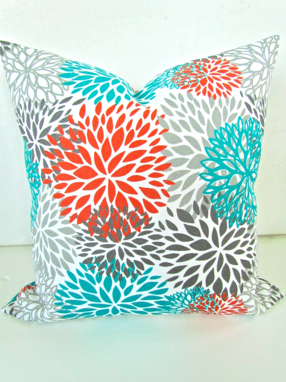 Brown Orange And Turquoise Living Room Throw pillows 18x18 orange
