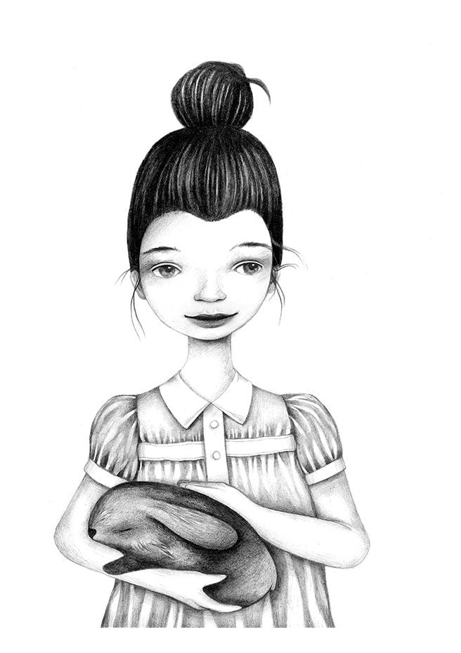 Sweet Dreams Black White Pencil Girl Bunny Illustration Drawing Print Children - BarbaraSzepesiSzucs