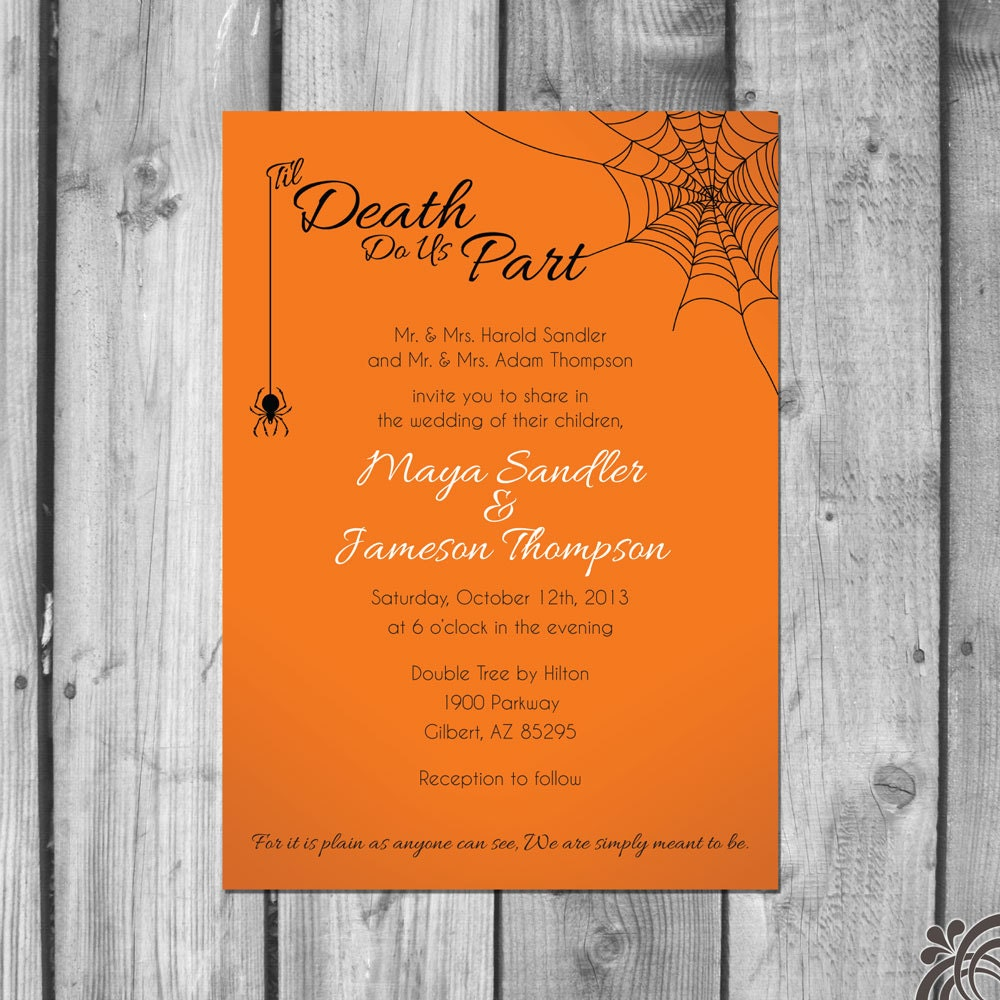 wedding halloween invitation wording