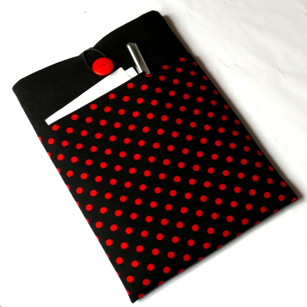 1415 inch Laptop Case Sleeve Fabric Padded MacBook Pro Case 15 Dell HP Case with Pocket  Shock Absorbent Foam Padding  Red Polka Dots