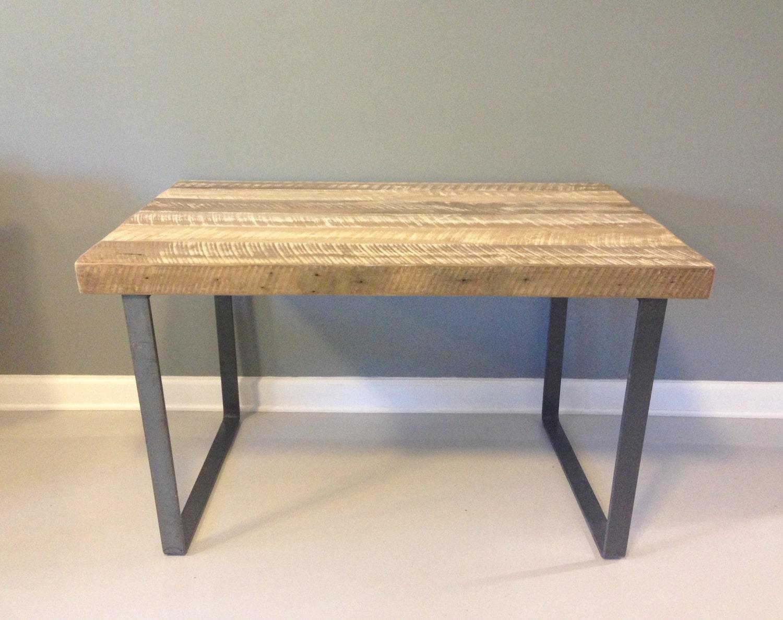 Reclaimed wood desk white oak with industrial steel by Small steel desk