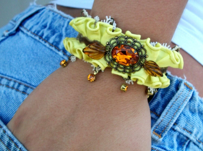 "OOAK Handmade Chartreuse Ruffled Bracelet/Cuff - ""Lemonade & Carmels"" - Topaz Stones, Antique Lace, Velvet - SALE"