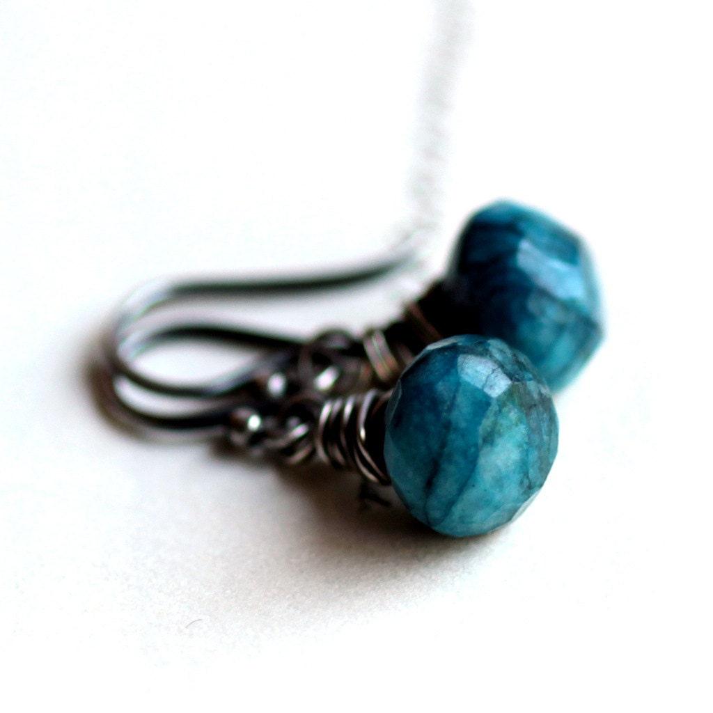 blue chrysocolla gemstone earrings wire wrapped by