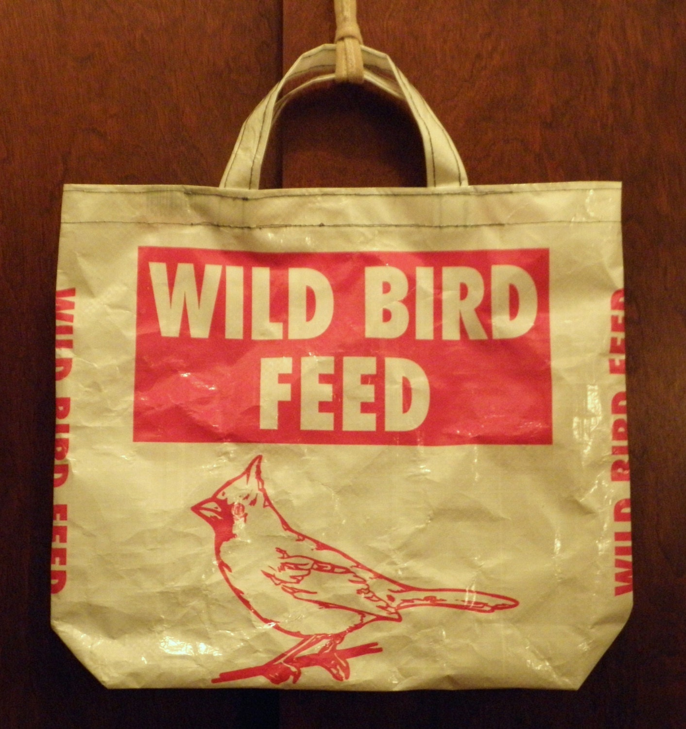 VALUE PRICED SMALL Upcycled Recycled Repurposed  Grocery Market Tote or Gift Bag for Bird Lovers