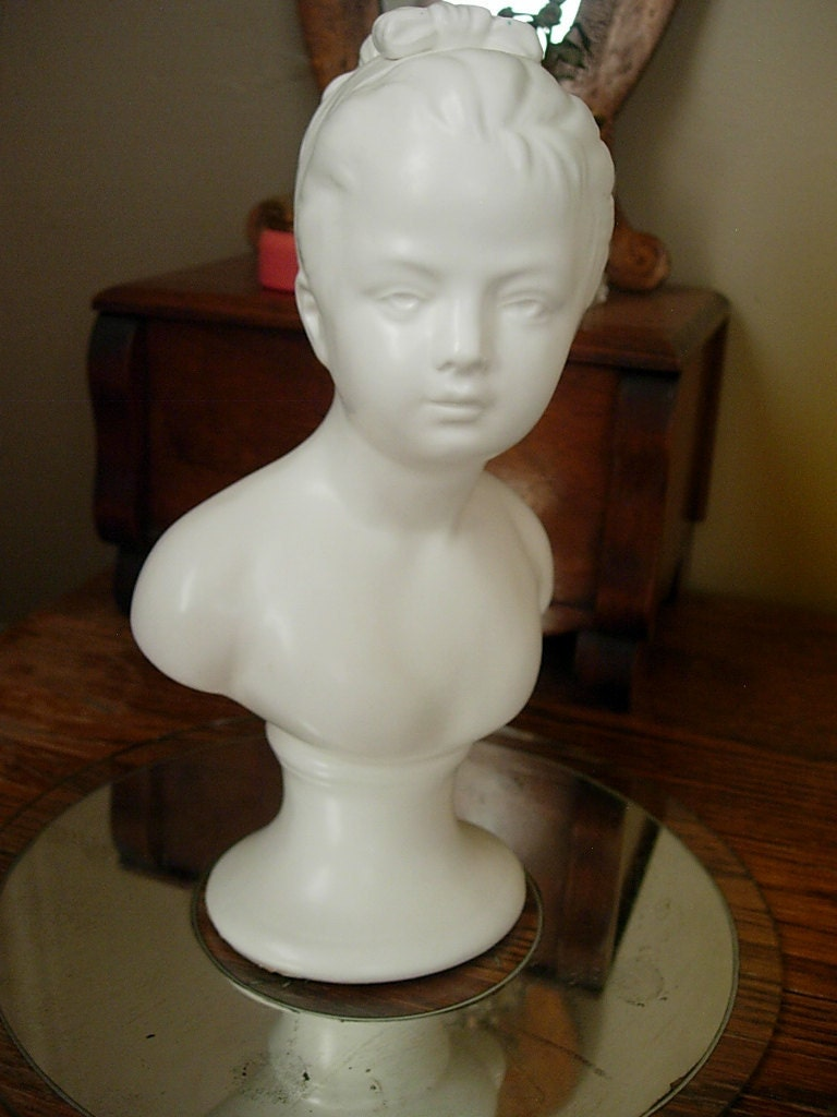 Young Woman Lady Child White Ceramic Bust Statue By