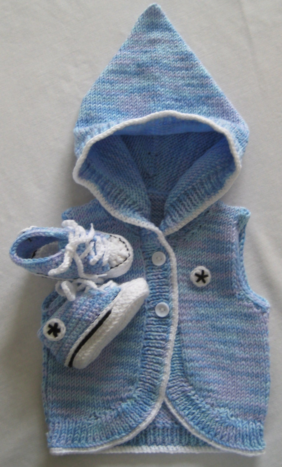 Mixed Blue Crochet Converse Baby Booties & by BabyJaneKnits