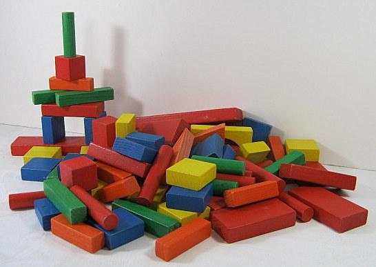 Colored Wood Blocks ~ Vintage colored wood blocks childs toy by lavendergardencottag