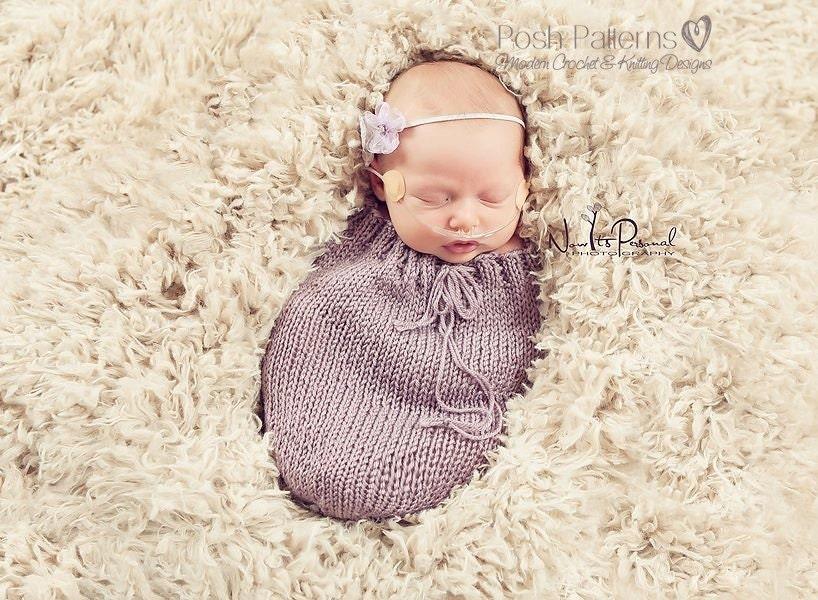 Newborn Photography Knitting Patterns : Knitting pattern easy knit newborn swaddle sack by