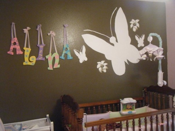 Hanging Wall Letters (5 letters). Handpainted and custom designed hanging wall letters for room or nursery - eLeMeNOPkids