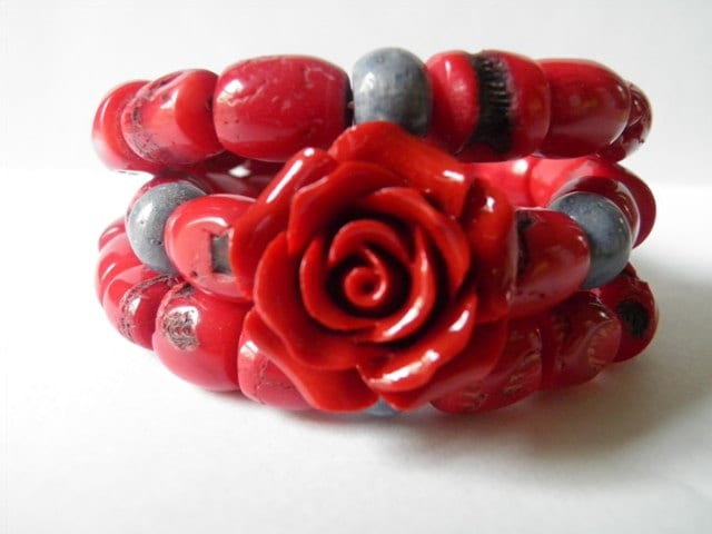 Wrap bracelet red bamboo coral , blue coral  summer spring gift for her boho chic - TheRottenRooster