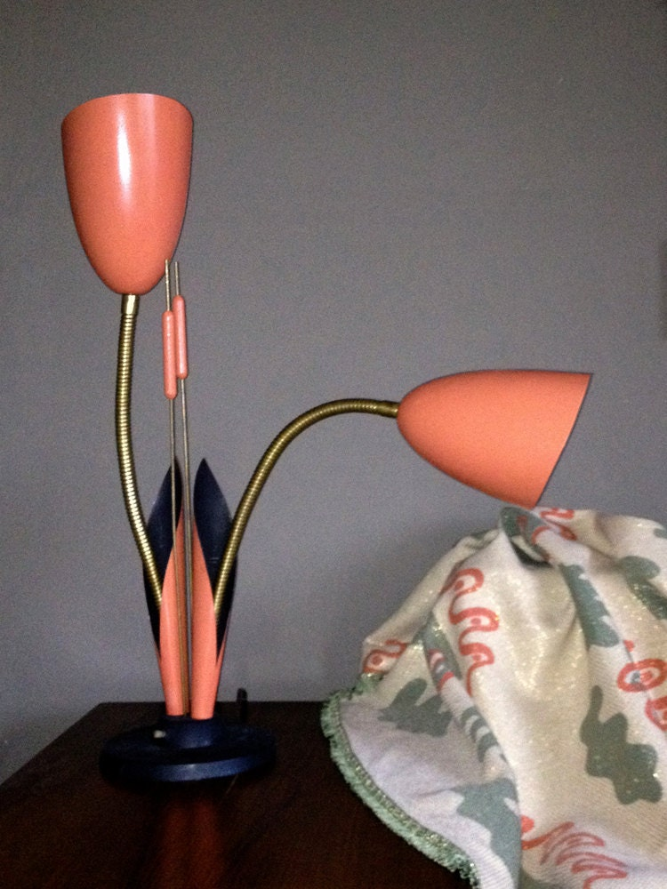 Vintage 1950s Cattail Lamp Pink Gooseneck Table By
