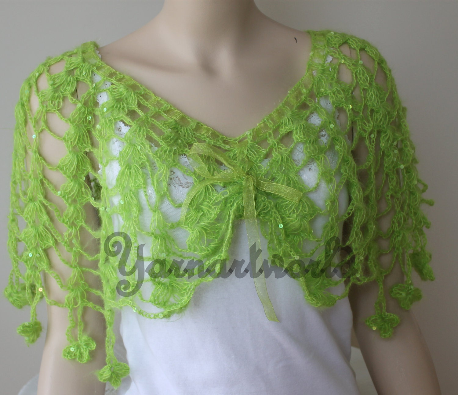 Green Crocheted Lace Collor / Mother's days Gifts / Capelet / Scarf  /Scirt