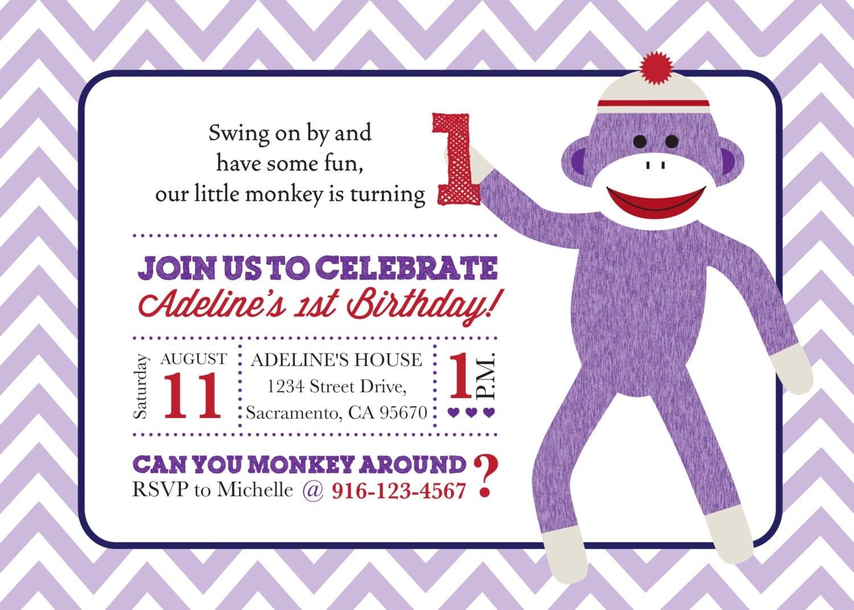 Sock Monkey Birthday Invitations and get inspiration to create nice invitation ideas