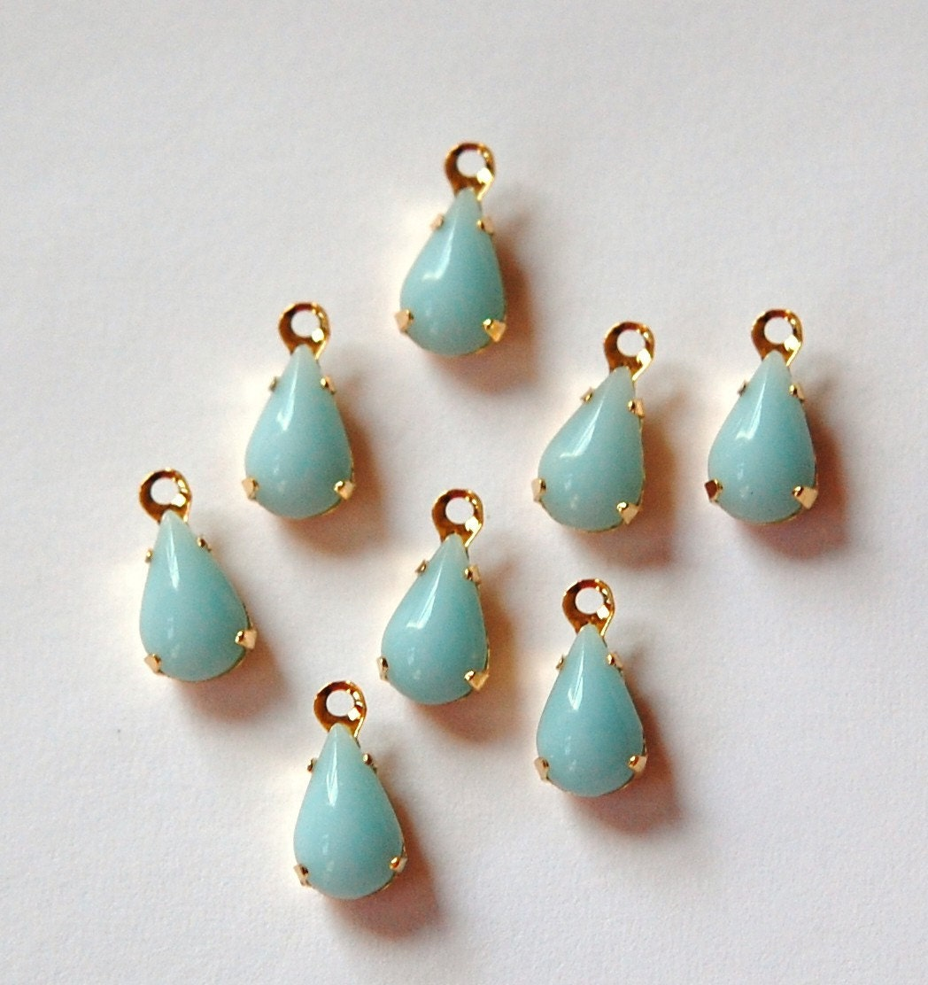 Opaque Light Blue Glass Teardrop One Loop Gold Plated Setting par006P