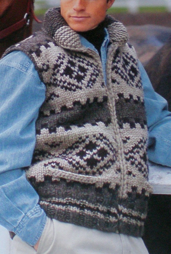 Cowichan SWEATER Vest Knittting Pattern by raincoaststudio on Etsy