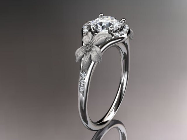 14kt white gold diamond leaf and vine wedding ringengagement ring adlr91 - Pagan Wedding Rings