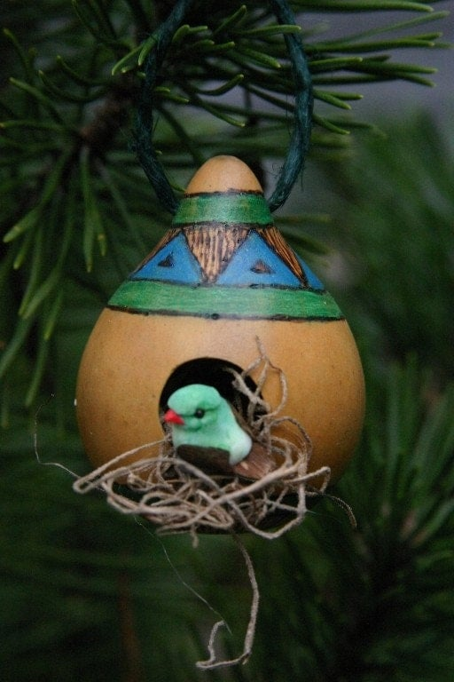 Rustic Birdhouse Gourd Ornament Blue And Green By