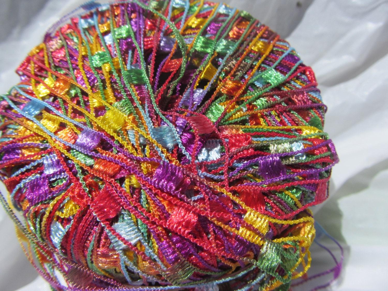 Nylon Knitting Ribbon : Items similar to dazzle ladder ribbon yarn by knitting